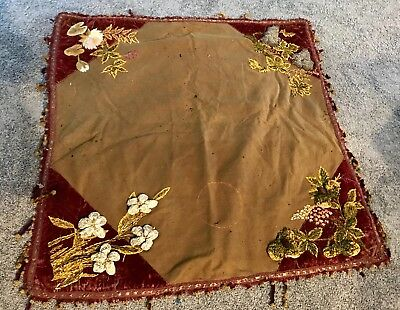 Antique EDWARDIAN VICTORIAN LAP ROBE COVERLET CLOTH