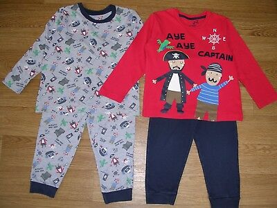 MATALAN Boys Two Pairs Mix & Match PIRATE Pyjamas Age 3-4 104cm