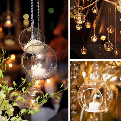 Style HANGING GLASS BAUBLE SPHERE BALL CANDLE TEA LIGHT HOLDER VASE