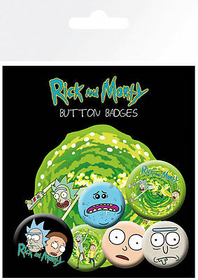 RICK AND MORTY Characters (6) PIN BADGES NEW CARDED BAGGED Official Merchandise