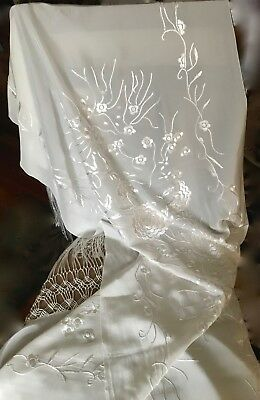 VINTAGE EMBROIDERED PIANO SHAWL FRINGED FLORAL IVORY COLOR  24 x 68 IN.
