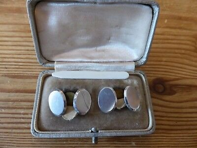 Antique sterling Silver cufflinks by Tongue & Walker, Birmingham, original box.