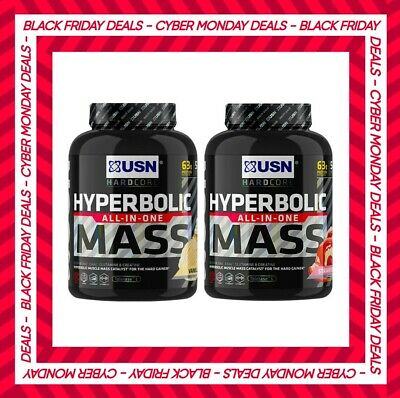 USN Hyperbolic Mass 2kg All In One Weight Gainer Protein Powder Shake Free P&P