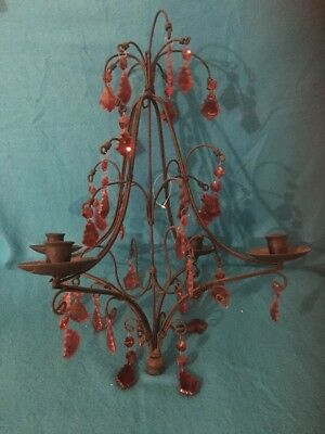 Antique Chandelier Iron 4 Candle Holder Red Ruby Vintage