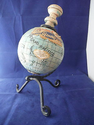 Rare, Vintage Rotating Ceramic Globe Chianti Bottle, stopper, iron stand - Empty