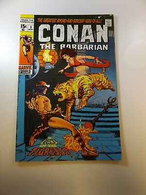 Conan The Barbarian #5 signed by Roy Thomas FN- condition