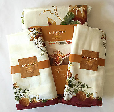 "Tablecloth & Napkins Set Harvest Season Autumn Fall Leaves 60"" x 84"" NIP"