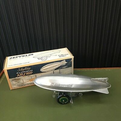 SCHYLLING ZEPPELIN WIND-UP TOY IN ORIGINAL BOX Aluminium Airship Art Deco LOHNT