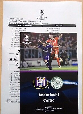 ANDERLECHT Belgium CELTIC Glasgow Scotland 2017 CHL FAN + OFFICIAL Linesup