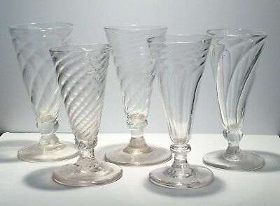 Five wrythen short ale glasses, England, ca. 1800, Georgian