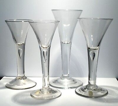 Four spectacular English wineglasses, ca. 1750, Georgian