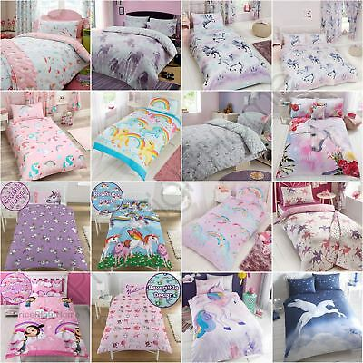 Unicorn Duvet Cover Sets Kids Girls Bedding - Junior, Single, Double & King