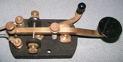 Vintage Brass Telegraph Code key. heavy duty contacts!