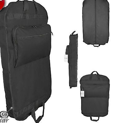 "39"" BUSINESS GARMENT BAG Cover Dress Suit Foldable Luggage Pockets Hanging Black"