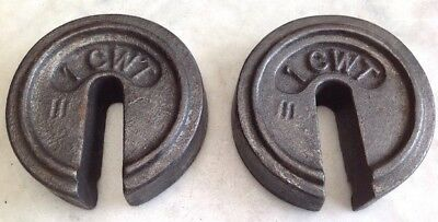 2 x 1cwt (112LB) Cast Iron Slotted Platform Scale Calibration Weights DOORSTOP