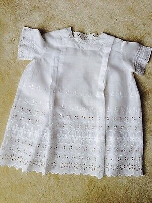 Antique Dress Victorian Child  White Embroidered Cotton Wonderful