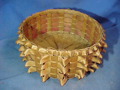 Early 20th PENOBSCOT Indian Maine HAND WOVEN Splint SEWING BASKET