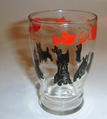 Black Scottie Dogs with Red Accessories Design Drinking Glass Vintage