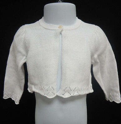 Ralph Lauren Polo 100% Cotton Pointelle Knit Shrug Sweater WHITE 6