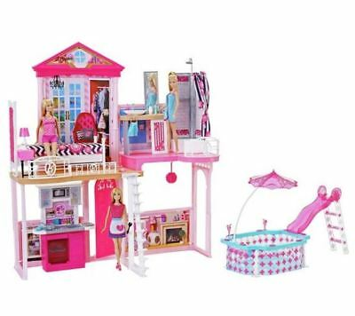 Complete Barbie Home Set Dream Play House With Pool And Accessories Toy Dolls