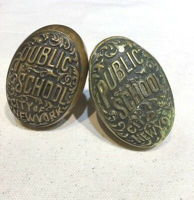 Pair Antique Brass Public School City Of New York Door Knobs