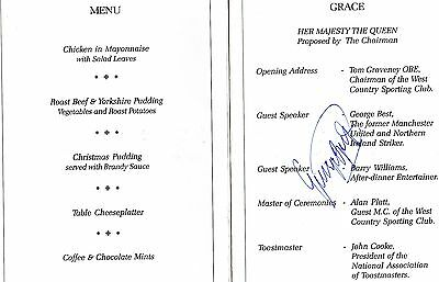GEORGE BEST - Autographed Signed In Person Sporting Dinner Menu
