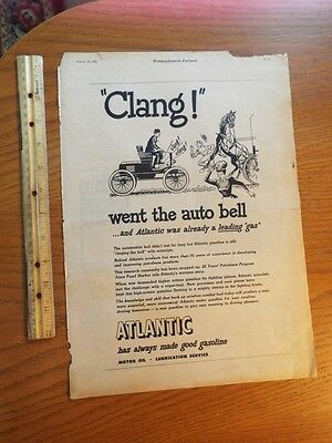 1945 Atlantic Motor Oil Clang Went the Auto Bell Scared Horse Vintage Ad J