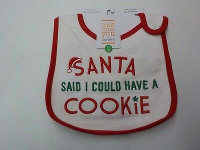 Infant Just One You Carter's Santa Said I Could Have A Cookie Bib New  #3841