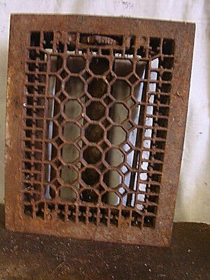 Antique Late 1800'S Cast Iron Heating Grate Honeycomb Design 13.75 X 11
