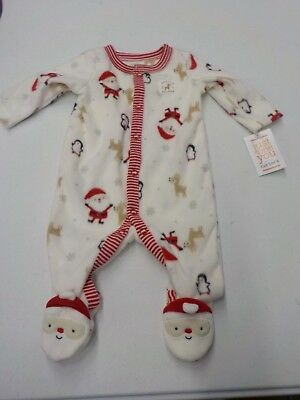 Infant Just One You Carter's Newborn Santa's Helper Footed Sleeper New  #3842