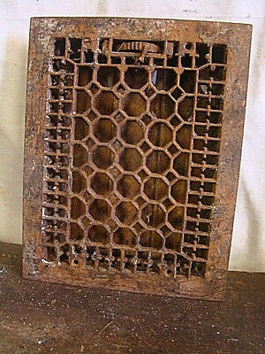 Antique Late 1800's Cast Iron Heating Grate Honeycomb Design 13.75 X 11 Td