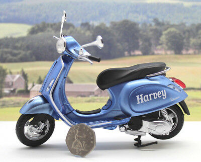 Personalised Name Gift Blue 1/12 Vespa Scooter Boys Dad Toy Model Xmas Present