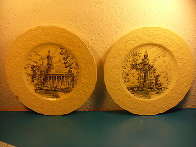 2 Vintage Ridgway Pennsylvania State University Buildings Collectors Plates
