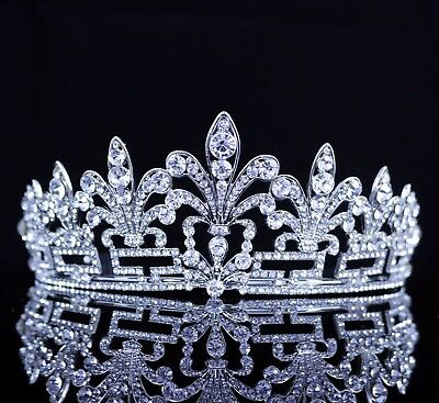 Classy Austrian Crystal Rhinestones Tiara W/ Hair Combs Bridal Pageant Prom T35