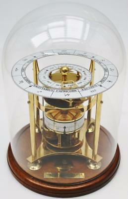 Rare C1984 English 8 Day Orrery Skeleton Calendar Table Clock Under Glass Dome