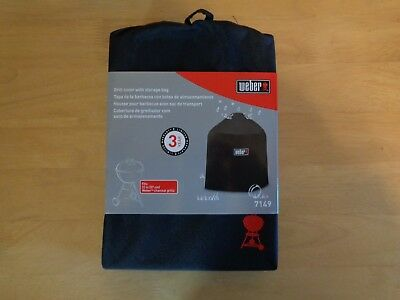 Weber 7149 Grill Cover w/ Black Storage Bag 22.5-Inch Charcoal Grills ~Free Ship