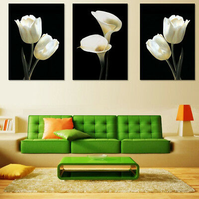 3pcs Flower Canvas Abstract Painting Print Picture Art Wall Decor Unframed