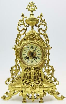 Quality Antique 19thc Large French Ornate Pierced Cast Bronze 8 Day Mantel Clock