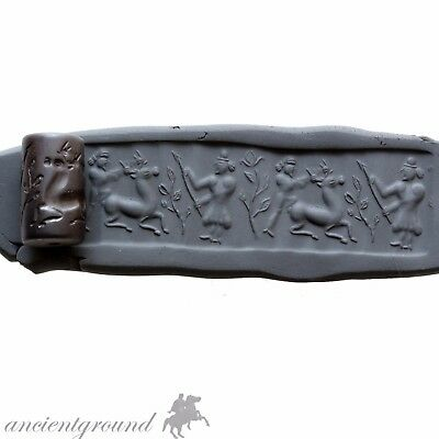 An Amazing Near Eastern Cylindrical Bead Seal Circa 1500-1000 Bc , Hematite ?