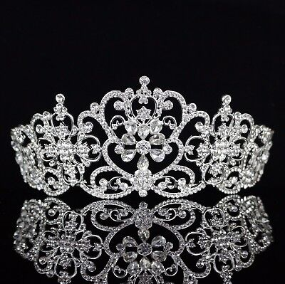 Floral Austrian Crystal Rhinestones Tiara Crown Bridal Pageant Prom Party T27