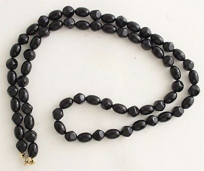 Vintage Signed Trifari Victorian Style Black Boulder Bead Single Strand Necklace
