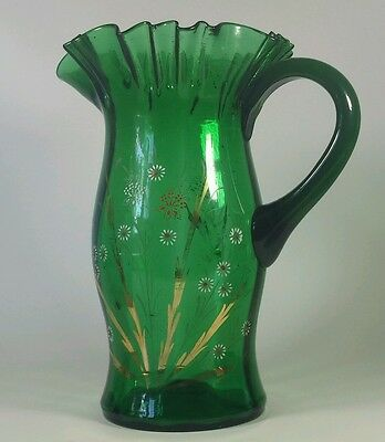 Victorian Emerald Enameled & Handpainted Blown Glass Water Pitcher Ribbed Inside