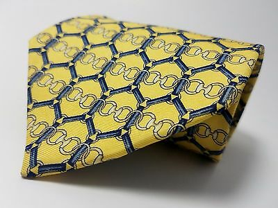 PAOLO GUCCI made in ITALY 100% Silk Tie Men's NWOT Gold Blue Necktie