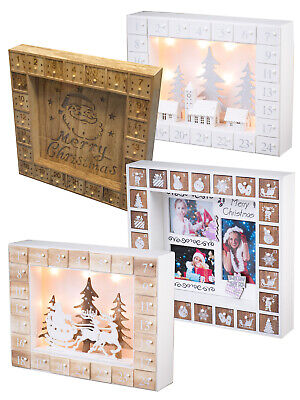 Wooden Light Up Christmas Advent Calendar LED Xmas Nordic Santa Decoration