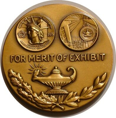 "1976 ANA Convention FOR MERIT OF EXHIBIT 2 & 1/4"" Bronze MEDAL GEM BU New York"