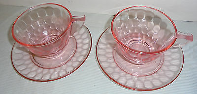 """Hex Optic By Jeannette 2 Pink Cups & Saucers 5.75"""" Across Cups 2.5"""" Tall 1928-32"""