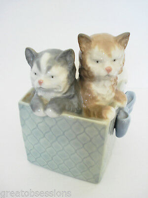 """vtg 1988 NAO by LLADRO """"Kittens in a Basket"""" Porcelain Figurine (superb cond.)"""
