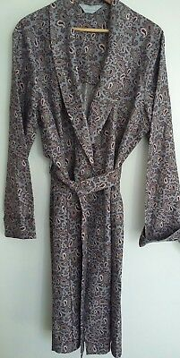 "Vintage TOOTAL Grey Burgundy Blue Paisley Dressing Gown Robe Smoking Jkt 42"" M"