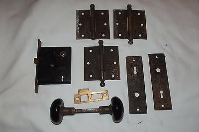 Antique Victorian Door Hardware, Matching Set, Hinges, Door Knobs, Plates, Lock