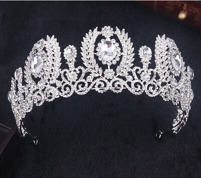 Queen Austrian Crystal Rhinestones Tiara Crown Bridal Pageant Prom Party T40